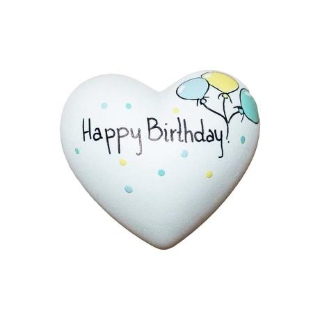 Szív - Happy Birthday! kék zöld sárga lufis  6x6x3,5cm