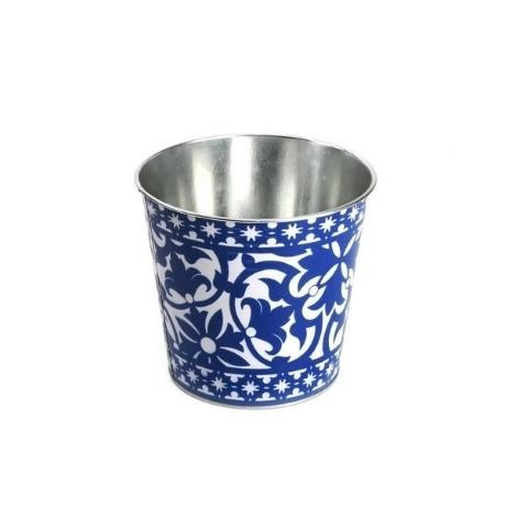 Mediterrán stílusú fém virágedény kék-fehér kerek