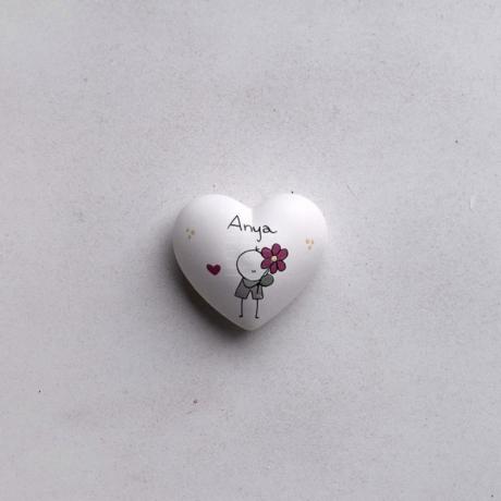 Szív - Anya - kisfiú mályva virággal
